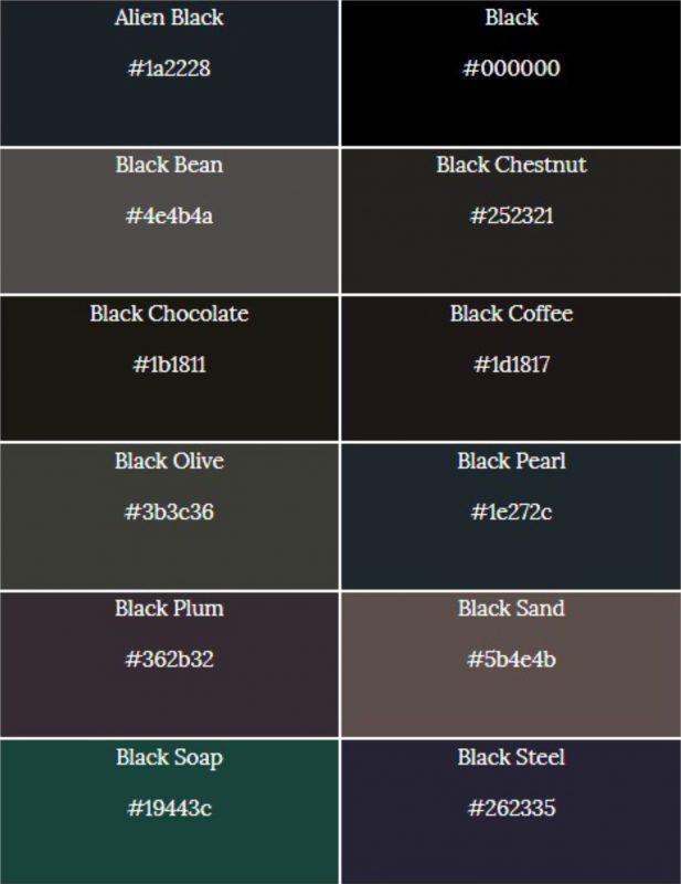 macam-macam warna hitam 1